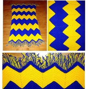 Other - Handmade afghan blue yellow gold michigan throw